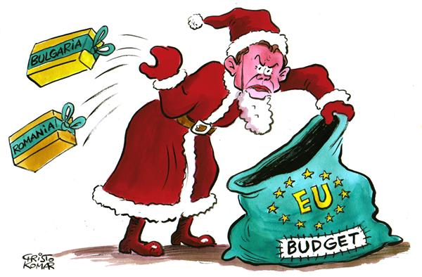 Christo Komarnitski - Bulgaria - Blair - Santa Claus - COLOR - English - EUROPE European Union Political Cartoons Britain's Prime Minister Tony Blair Budget Cuts Bulgaria Pomania Enlargement
