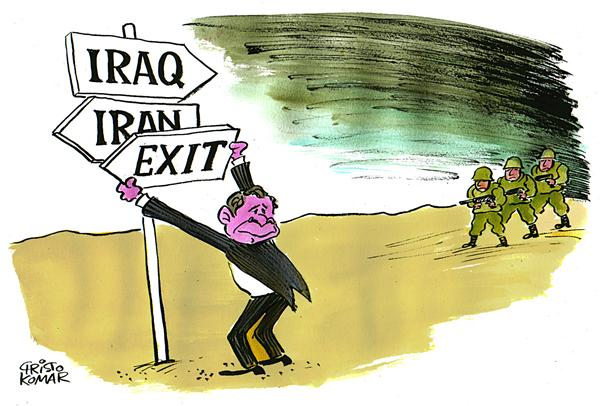 EXIT © Christo Komarnitski,Bulgaria,War, World, Political Cartoon, Stuck, Iraq, Plan, President George W. Bush, Exit Strategy, Iran, signs, Terror, military
