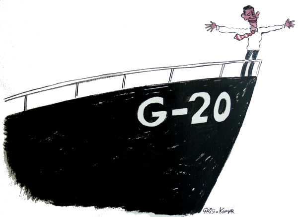 Christo Komarnitski - Bulgaria - G - 20 SHIP - COLOR - English - G20, summit,USA, US, President, Barack Obama, Economy, Crisis, Recession, World,Pittsburgh