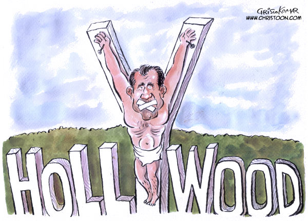 Christo Komarnitski - Bulgaria - Mel Crucified - COLOR - English - Mel Gibson, Hollywood, World, Cartoon, Entertainment, USA