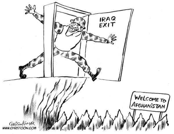 Christo Komarnitski - Bulgaria - IRAQ EXIT - B&W - English - 		Political,Cartoon,World,USA,US,Iraq,War,Exit,Afghanistan,Terror,President,Barack Obama,