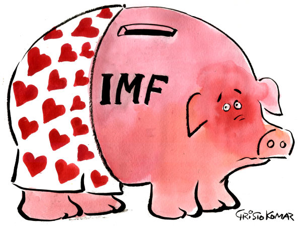 Christo Komarnitski - Bulgaria - IMF piggy bank - COLOR - English - 		IMF,piggy bank,World,Political,Cartoon,Dominique Strauss-Kahn