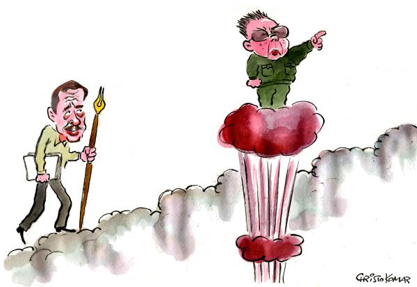 Christo Komarnitski - Bulgaria - Havel goes to Heaven - English - World,cartoon,political,Vaclav Havel,Kim Jong-Il