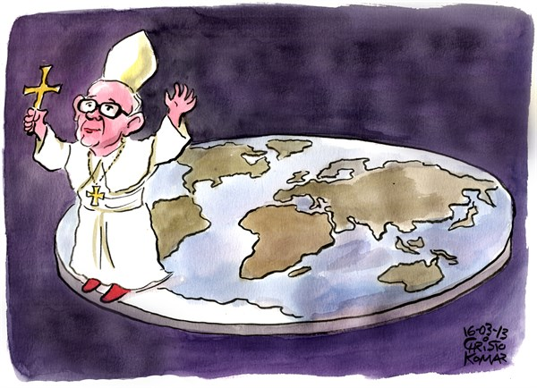 Christo Komarnitski - Bulgaria - Pope Francis at the end of the World - English - 		Pope Francis,Vatican,World, Religion, Cartoon