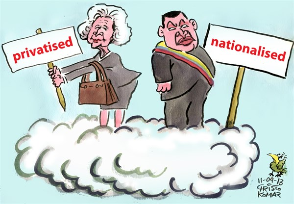 130102 600 Mrs Thatcher and Chavez in Heaven cartoons