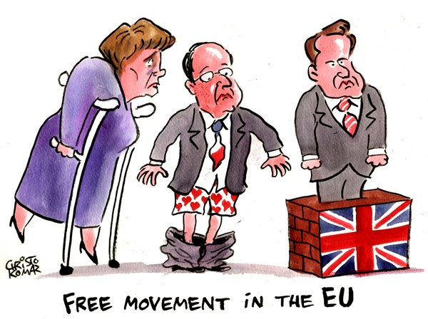Christo Komarnitski - Bulgaria - Free movement in the EU - English - 		EU,Europe,World,Political,Cartoon,Merkel,Hollande,Cameron,Germany,France,England
