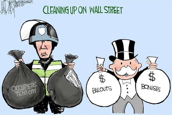 Jeff Darcy - Cleveland.com - Cleaning Up Wall Street - English - OWS,Occupy Wall Street,Protesters,Tent City,arrest,clean,bonuses