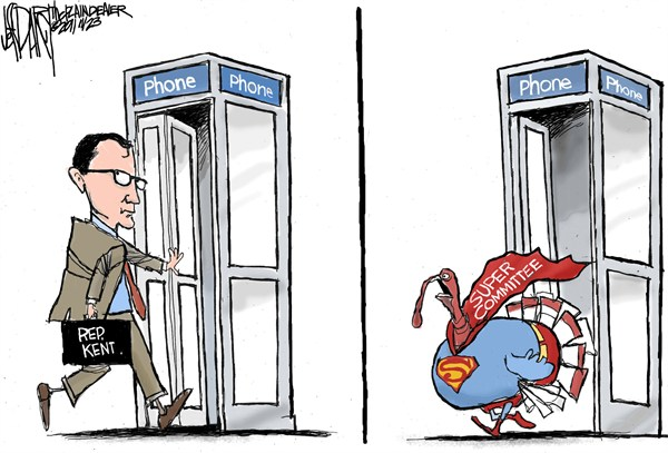 Supercommittee Turkey © Jeff Darcy,The Cleveland Plain Dealer,turkey,supercommittee,Superman,Clark Kent,debt