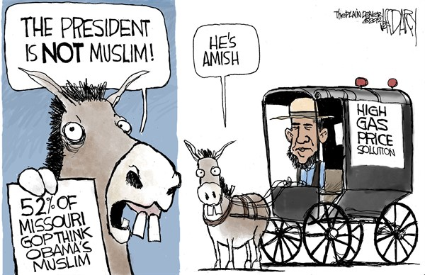 Jeff Darcy - Cleveland.com - Obama is a Muslim - English - obama,south,muslim,amish,gas,prices,horse,campaign,primary