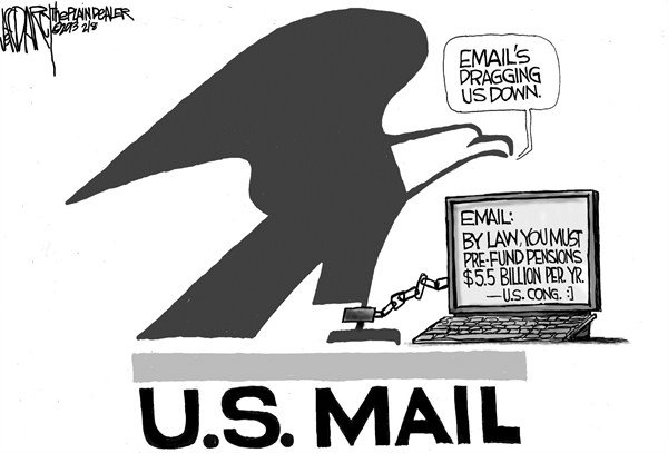 Jeff Darcy - Northeast Ohio Media Group - Postal service red ink - English - Saturday mail delivery,US Mail,US Postal service,email