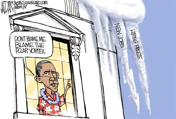Obama economy polar vortex © Jeff Darcy,The Cleveland Plain Dealer,global warming 2014