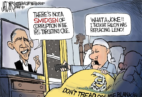 Obama IRS targeting spin © Jeff Darcy,The Cleveland Plain Dealer,Obama, IRS, Leno, Letterman,