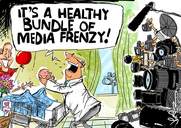 Jeremy Nell - The New Age, South Africa - Bundle of Media Frenzy - English - royal baby,prince,boy,king,william,kate,stroller,hospital,london,queen