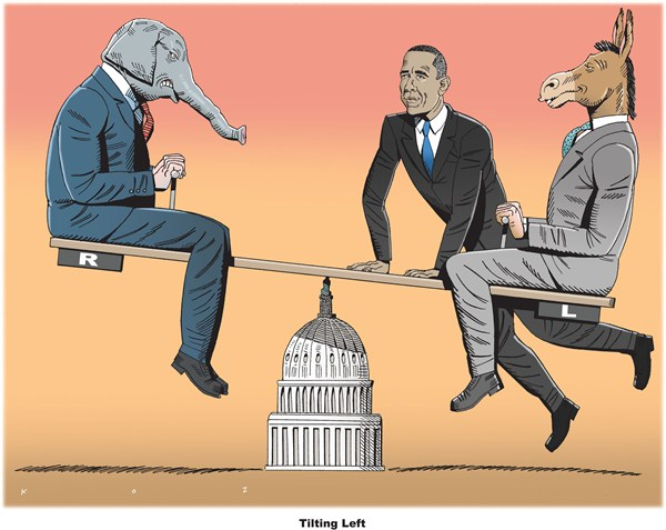 Tilting Left © Martin Kozlowski,inxart.com,best of obama,obama,tilting,left,second,term,issues,obama-second-term