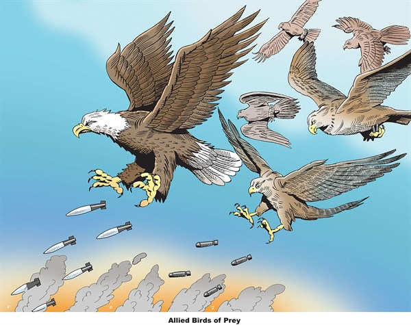 Allied Birds of Prey © Martin Kozlowski,inxart.com,birds,prey,allied,missiles
