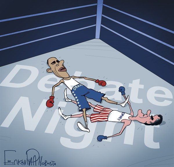 Knockout Debate © Sergei Elkin,Rian,romney obama debate,knockout,boxing,campaign,election