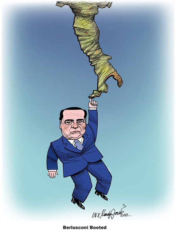 Berlusconi Booted © Randy Jones,inxart.com,Berlusconi,Italy,resign,leaving