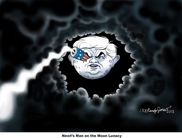Man on the Moon © Randy Jones,inxart.com,Newt Gingrich,moon,base,colony,campaign