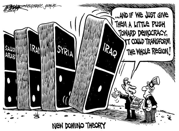 John Trever - The Albuquerque Journal - New domino theory - English - Iraq, war, Bush, domino theory, democratization, dominos, domino, democracy, iraqi, invasion, democratic, effect, middle east, mideast, mid east, syria, george, w, bush