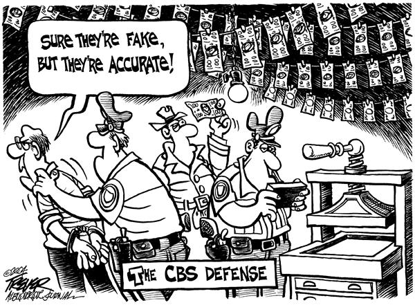 Fake but accurate © John Trever,The Albuquerque Journal,CBS, Dan Rather, rather, Bush, national guard, service, 2004, campaign, media, fake, accurate, counterfit, counterfitting, money