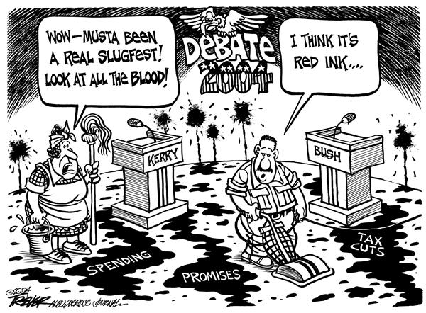 John Trever - The Albuquerque Journal - Debate red ink - English - 2004, Campaign, Debates, Bush, Kerry, Deficit, debate, red ink, ink, spending, tax, taxes, tax cuts, tax cut, promise, promises, campaigns, media, media coverage, election, election, george, w, 2004