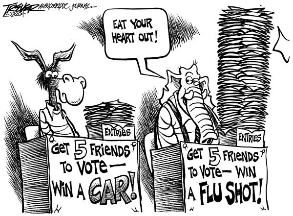 John Trever - The Albuquerque Journal - Win a flu shot - English - Flu vaccine, shortage, campaign, 2004, voter, drives, registration, register, voters, voting, flu, shot, shots, influenza, shortages, car, prize, prizes, dems, democrats, republicans, republican