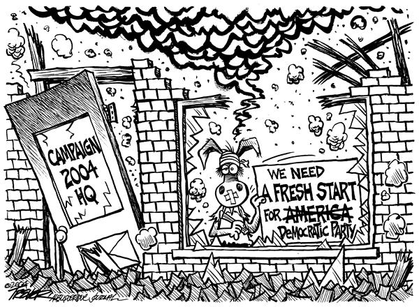 John Trever - The Albuquerque Journal - A Fresh Start - English - Election, 2004, Democrats, dems, campaign, campaigns, headquarters, slogan, fresh start, start over, rebuild, loser, losers, rebuilding