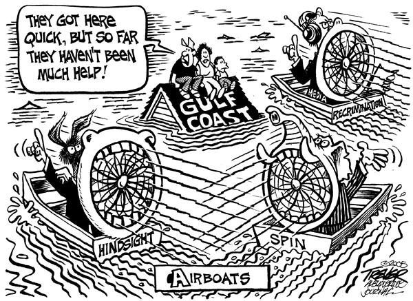 Airboats © John Trever,The Albuquerque Journal,Hurricane, Katrina, Congress, Disaster, Relief, Trever, airboats, airboat, congressional, spin, media, aid, relief, rescue, hindsight, blame, new orleans, flood, flooding, rescue, republicans, democrats, press