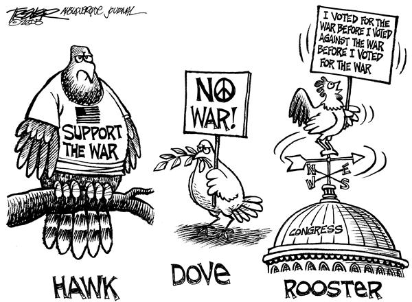 John Trever - The Albuquerque Journal - War Birds - English - Iraq, war, Congress, Democrats, dems, dove, hawk, rooster, flipflop, flip-flop, waffle, congressional, Republicans, support, vote, voting, senate, house of reps, house of representatives, Trever