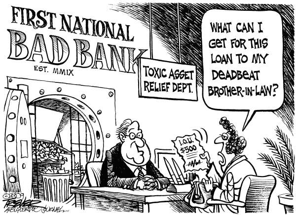 John Trever - The Albuquerque Journal - Bad Bank - English - Bailout, Toxic assets, Bad Bank, Obama, Geithner, Stimulus, Economy, Banks, Subprime, Trever