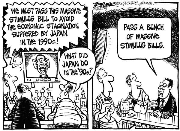 John Trever - The Albuquerque Journal - Stimulus Bill - English - Obama, Stimulus, Economy, Japan, Bailout, Credit Crisis, Banks, Trever