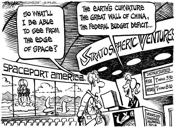 John Trever - The Albuquerque Journal - Deficits - English - Federal budger, Deficit, Spending, Obama, Congress, Spaceport, Private space travel, Richard Branson, Virgin Galactic, Trever