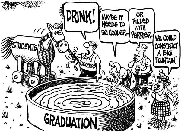 John Trever - The Albuquerque Journal - Low Graduation Rates - English - Education, Schools, High School, Graduation, Lead a horse to water, Trever