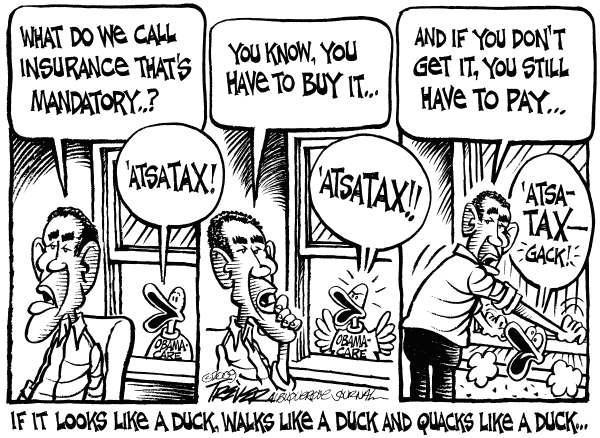 John Trever - The Albuquerque Journal - Duck Test - English - Obama, Health Care, Healthcare, Health insurance, Obamacare, Individual mandate, Aflac, Trever