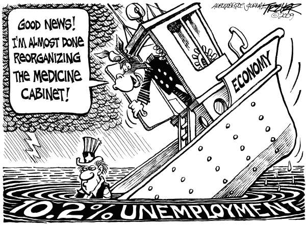 John Trever - The Albuquerque Journal - Jobs and Health Care - English - Unemployment, Jobs, Recession, Health Care, Healthcare, House bill, Pelosi, Democrats, Congress, Health insurance reform, Economic recovery, Trever