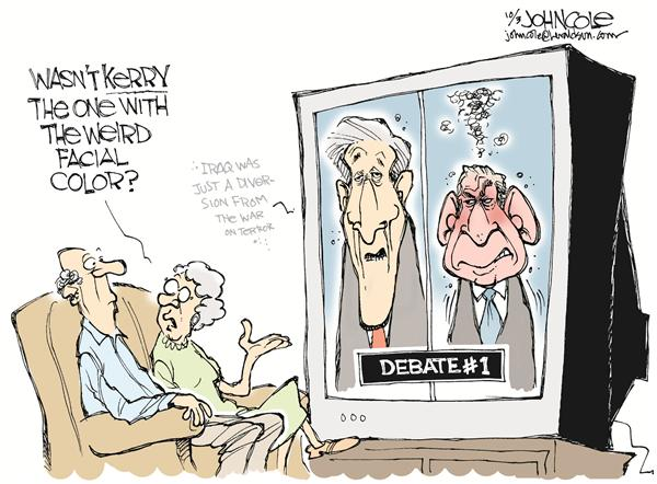 John Cole - The Scranton Times-Tribune - Bushs debatable temper -- color - English - bush, debates, debate, kerry, debating, color, face, facial, expression, expressions, angry, anger, debate, viewer, viewers, TV, television, televised, candidate, candidates, campaign, 2004