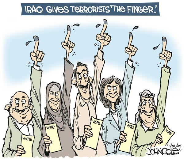 John Cole - The Scranton Times-Tribune - Giving terrorists the finger - English - iraq, elections, vote, terror, terrorists, terrorism, voting, voters, democracy, iraqi, flipping off, flip-off, finger, gesture, freedom, ballot, ballots