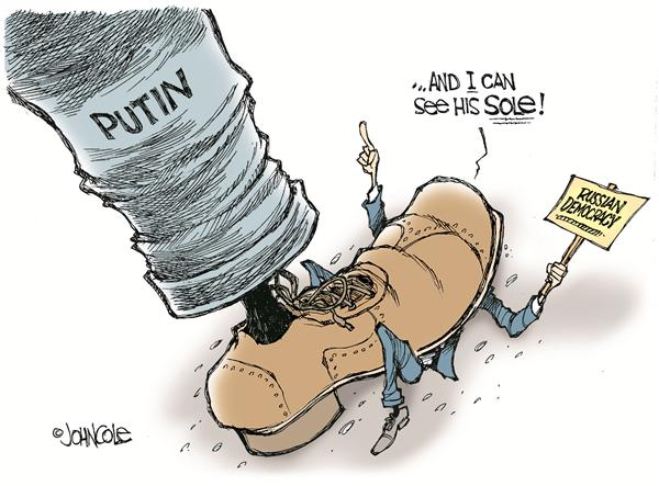 John Cole - The Scranton Times-Tribune - Seeing Putins sole -- color - English - putin, bush, europe, politics, democracy, reform, vladimir, foreign diplomacy, sole, soul, european, russia, russian, reforms, democratic, government, protest, protester