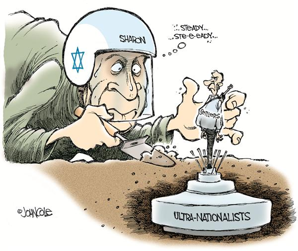 John Cole - The Scranton Times-Tribune - Sharons political land mine -- color - English - israel, israeli, sharon, settlers, gaza, west bank, middle east, mideast, mid east, palestinian, palestinian, palestinians, peace, land mine, settler, nationalist, nationalists, remove, removal