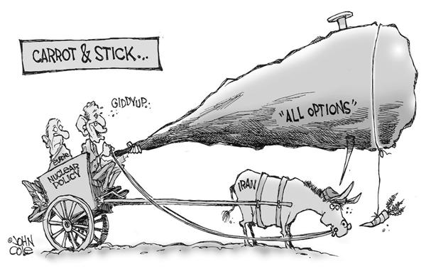 John Cole - The Scranton Times-Tribune - Carrot and stick bw - English - iran, bush, europe, nuclear, weapons, weapon, power, options, donkey, carrot, bait, george, w, stick, cart, burdeon, iranian, option, bomb, bombs, negotiation, negotiations, WMD, WMDs