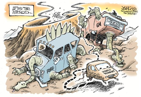 John Cole - The Scranton Times-Tribune - The next extinction - English - ford, general motors, gm, oil, prices, hybrid, fuel, gas, prices, environment, environmental, expensive, cars, car, truck, trucks, MPG, gasoline, asteroid, extinct, extnction, dinosaur, dinosaurs, transportation, petroleum, alternative, alternatives