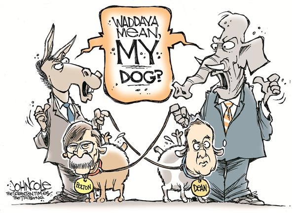 John Cole - The Scranton Times-Tribune - Not-so-nice doggies - English - dean, bolton, republicans, republican, democrats, dems, GOP, dogs, leash, congress, politics, confirmation, civility, bush, dog, disagreement, argue, argument, UN, ambassador, united nations