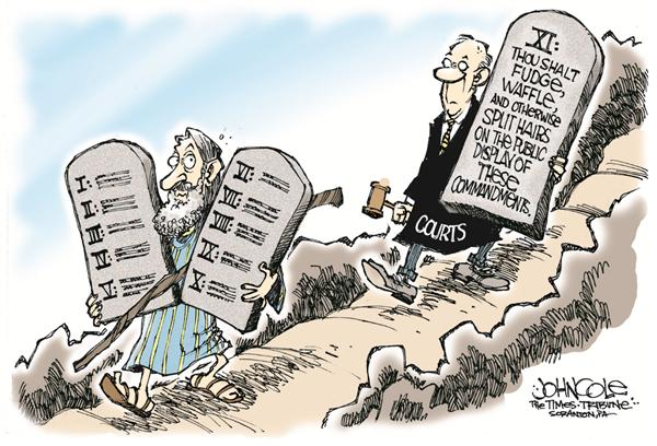 John Cole - The Scranton Times-Tribune - The eleventh commandment - English - ten commandments, moses, supreme court, couts, ruling, decision, split hairs, consititutional, religious, relgion, courts, politics, ACLU, display, church and state, commandment, freedom of speech