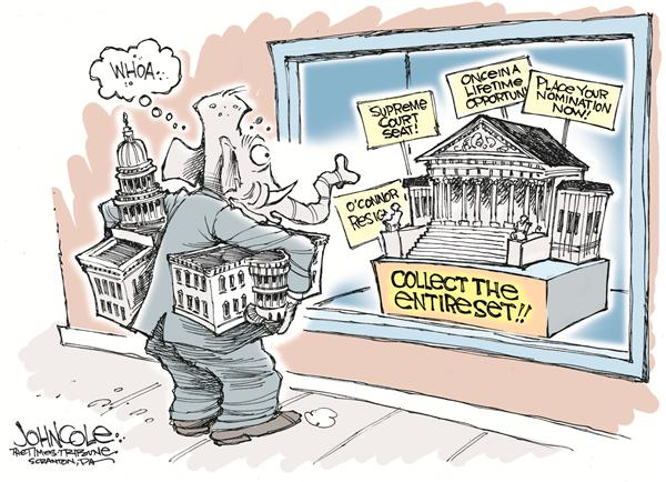John Cole - The Scranton Times-Tribune - Collect the entire set - English - supreme court, nomination, republican, bush, conservative, politics, collect, collection, collector, branches, government, judicial, executive, legislative, court, courts, oconnor, resign, republicans
