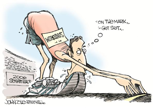 John Cole - The Scranton Times-Tribune - Run Rick Run - English - Santorum, senate, pennsylvania, conservative, values, politics, senator, Rick, congress, race, racing, run, running, runner, feet, mouth, campaign, candidate