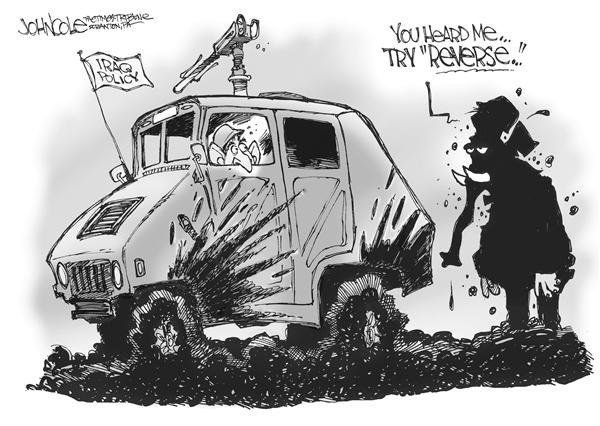 John Cole - The Scranton Times-Tribune - Bush and GOP - English - iraq, iraqi, reverse, stuck, mud, offroad, offroading, congress, congressional, advice, republicans, republican, GOP, policy, war, politics, polls, popularity, stay the course, george, w, military, pull out, withdraw, withdrawal