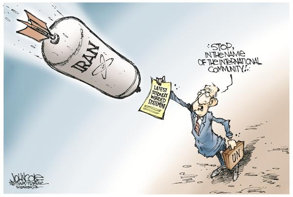 Iran nukes © John Cole,The Scranton Times-Tribune,iran, iranian, enriched, uranium, nuclear, atomic, weapon, weapons, ahmadinejad, iraq, terror, oil, prices, mideast, middle east, mid east, israel, US, UN, Bush, military, nukes, United nations, statement, negotiation, negotiations, WMD, WMDs