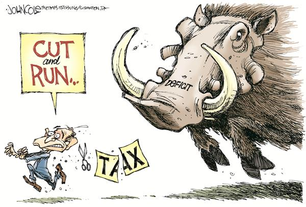 Bush cuts and runs © John Cole,The Scranton Times-Tribune,bush, budget, deficit, spending, tax, tax cuts, cuts, taxes, military, security, medicare, medicaid, government, iraq, george, w, running, run, warthog, wart hog, social programs, funding, debt, money