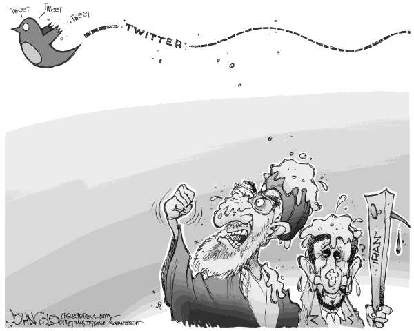 John Cole - The Scranton Times-Tribune - Twitter and Iran BW - English - iran, ahmadinejad, election, protests, mousavi, khameini, ayatollah, twitter, coverage, crackdown