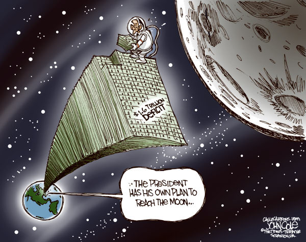 Obama moon mission COLOR © John Cole,The Scranton Times-Tribune, obama, nasa, moon, deficit, debt, budget